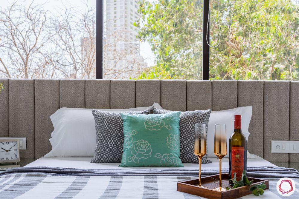 flat interiors-bedroom-upholstered headboard-beige headboard