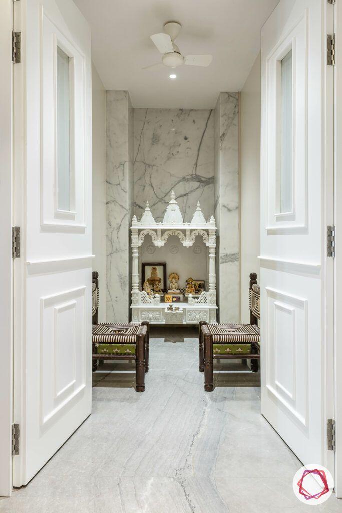pooja mandir for home designs-seating options-stools-white pooja rooms-marble pooja walls