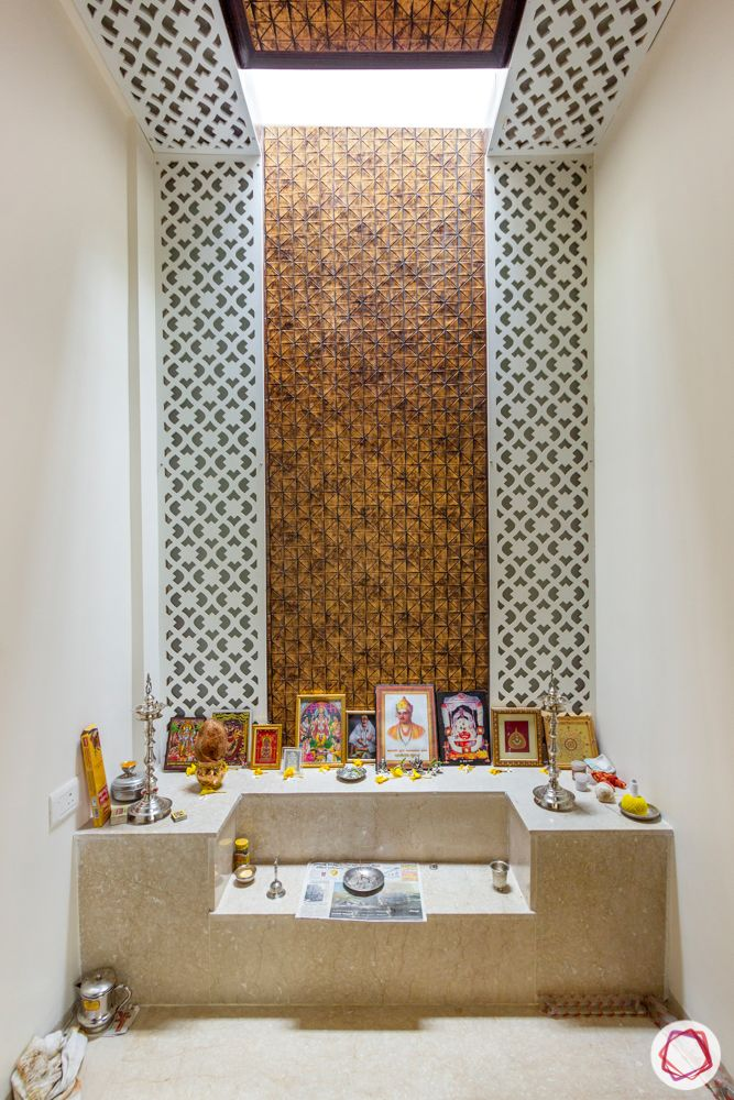 jaali wall work-white fretwork-compact pooja room designs