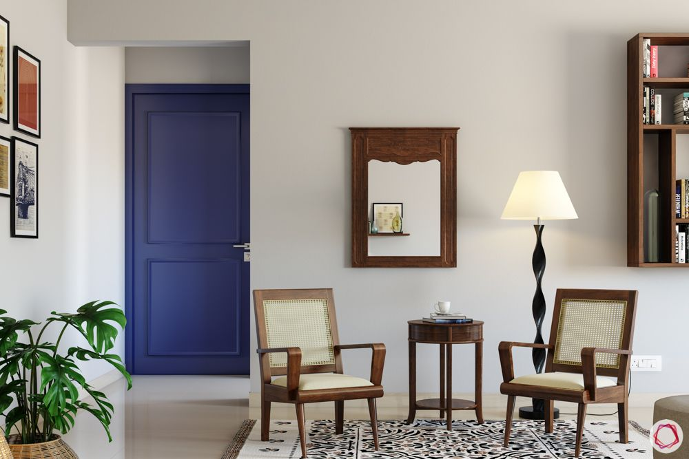 door-colours-purple-foyer-wooden-chairs-table-rug-mirror-lamp-plants-bookshelf