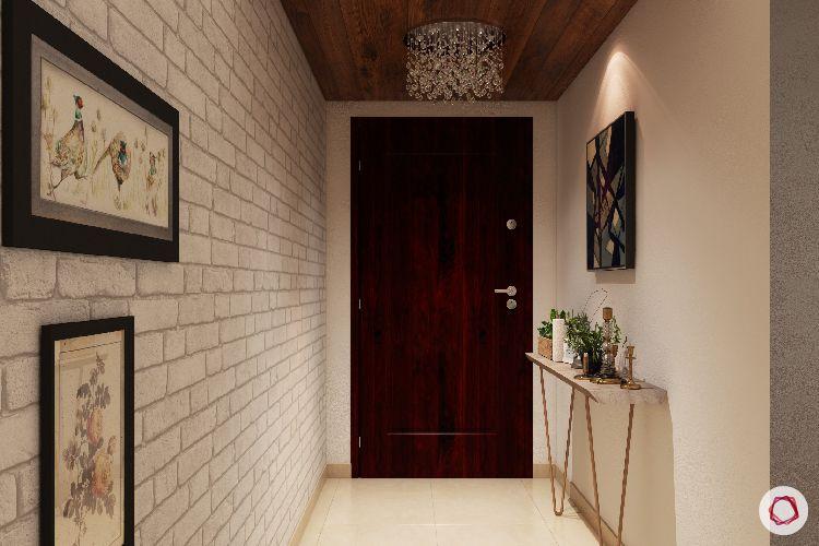 entryway furniture-exposed brick wall designs-foyer designs