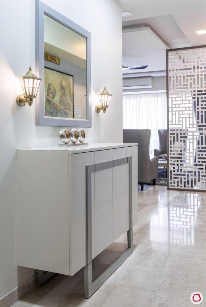 entryway furniture-mirror designs-grey console table