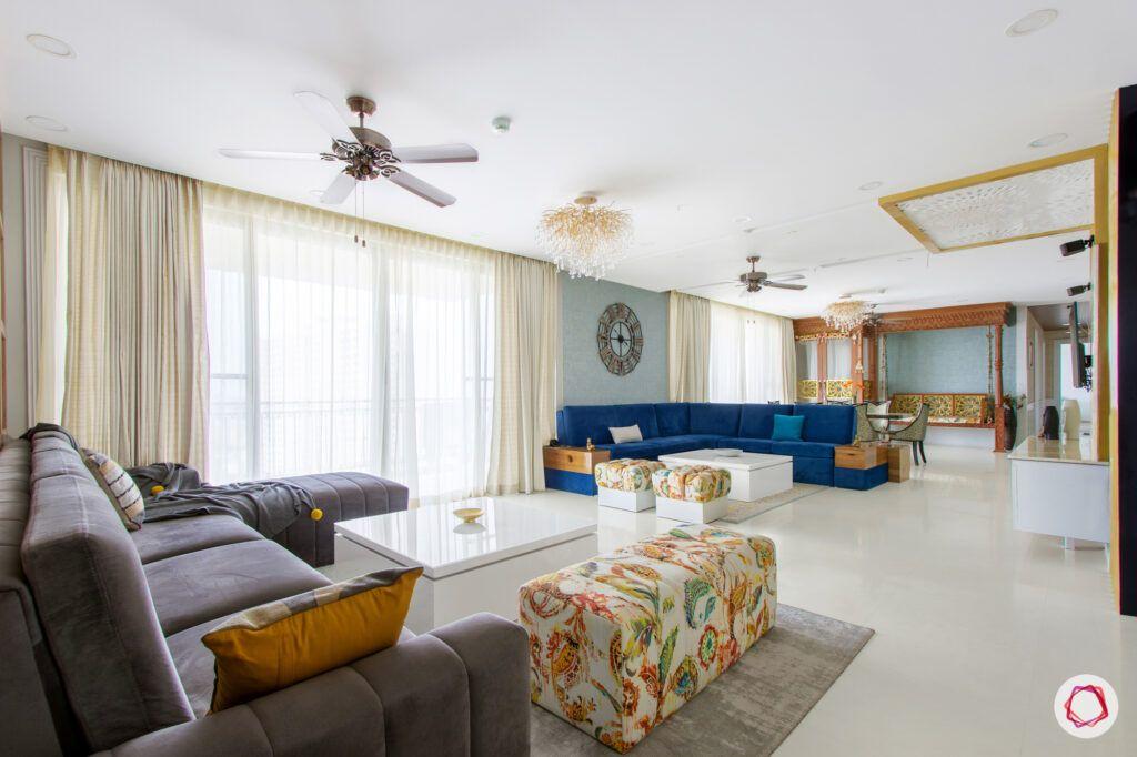 hiranandani bangalore-grey sofa designs-blue l-shaped sofa