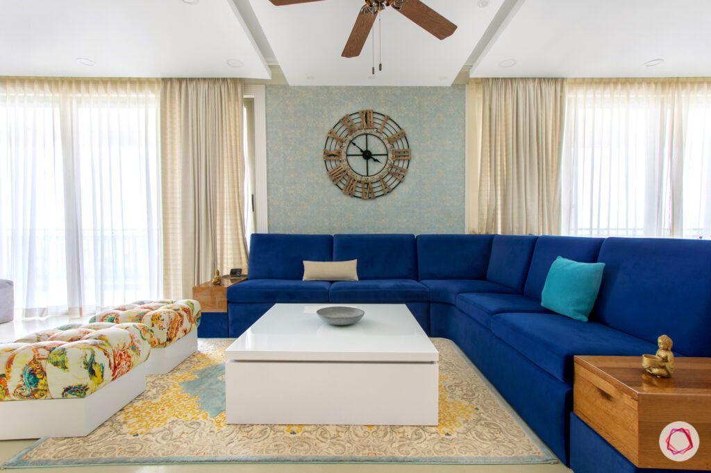 blue l-shaped sofa-blue sofa designs