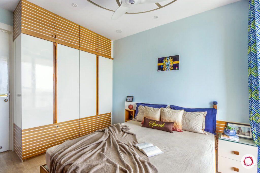 hiranandani bangalore-blue wall ideas-white wardrobe designs