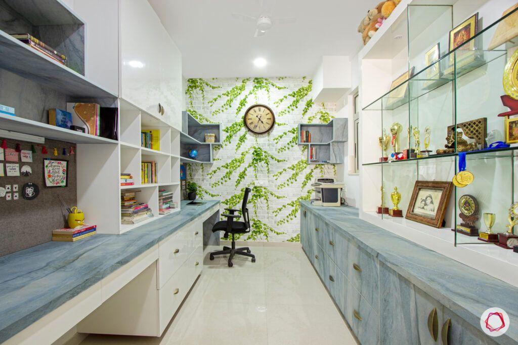hiranandani bangalore-blue desk designs-glass shelf designs