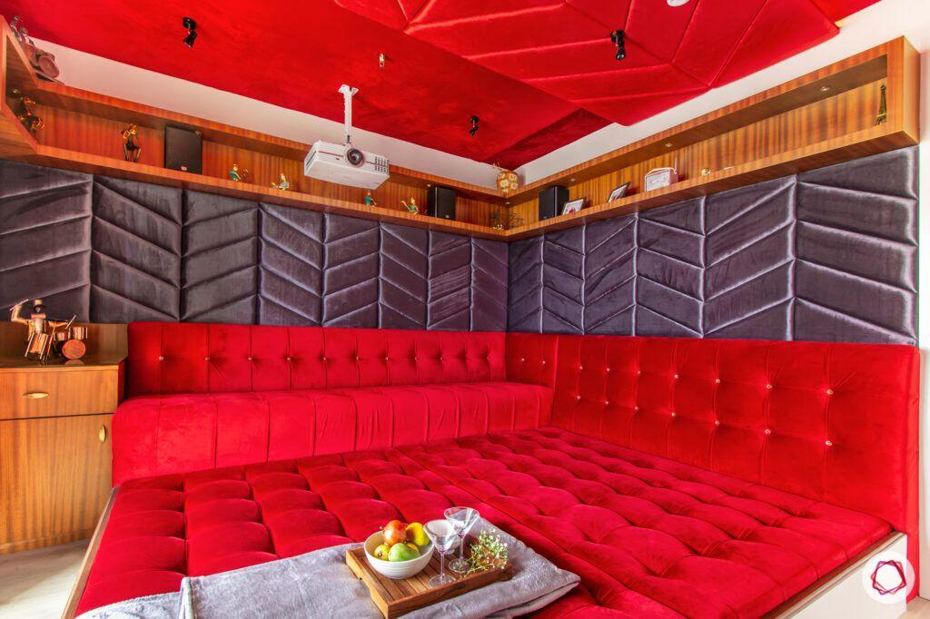 hiranandani bangalore-red velvet upholstery-velvet seating ideas