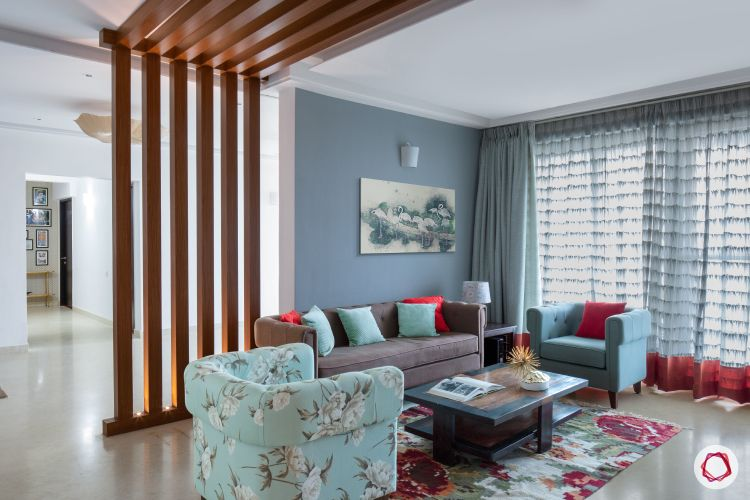 wooden partition designs-accent piece-living room