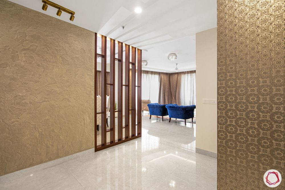 wooden partition designs-wall extension-textured wallpaper
