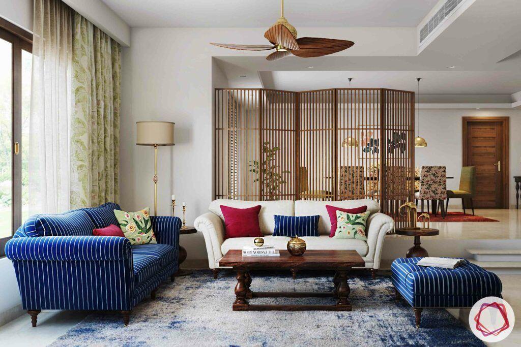 wooden partition designs-living room-dining room-divider