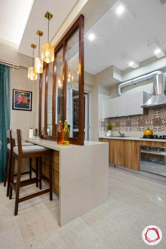 wooden partition designs-breakfast counter-kitchen-pendant lights