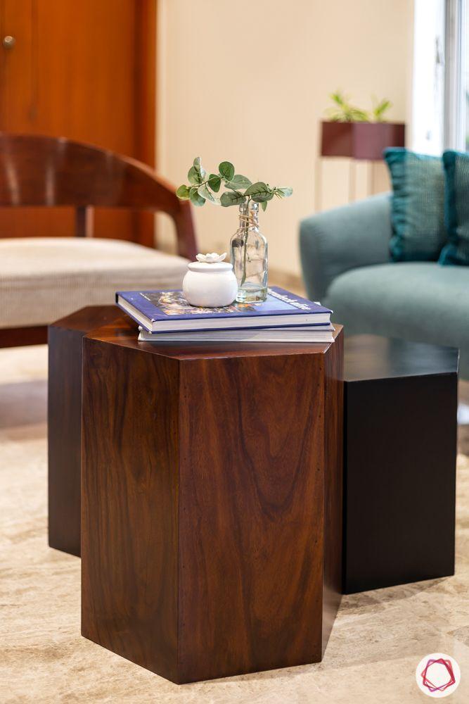 home renovation mumbai-wooden centre table-console table-hexagonal table