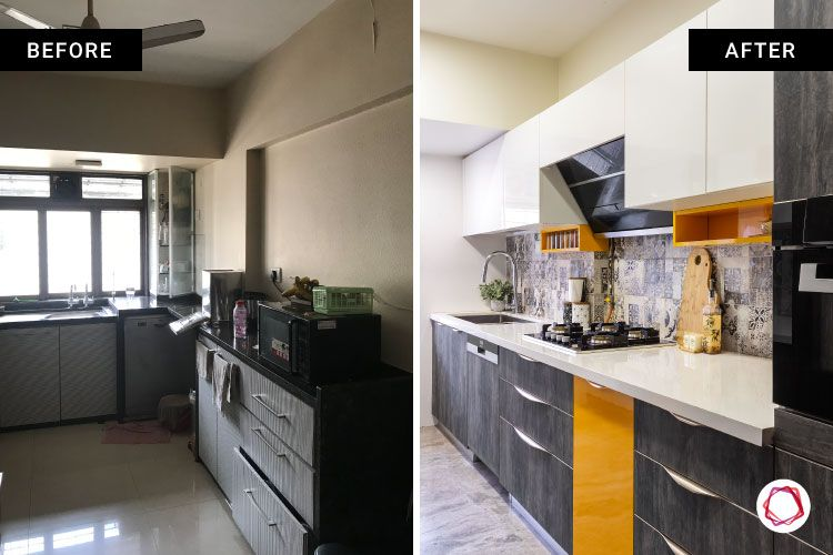 home renovation mumbai-parallel kitchen-cabinets-white and grey design