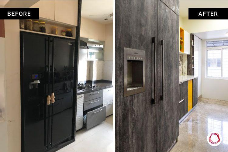 home renovation mumbai-fridge-stone finish laminate-cabinets-collage