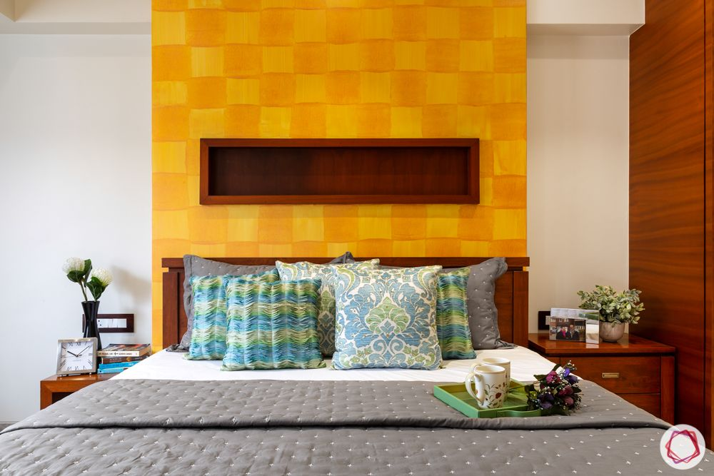 home renovation mumbai-yellow wall-accent wall-wooden elements