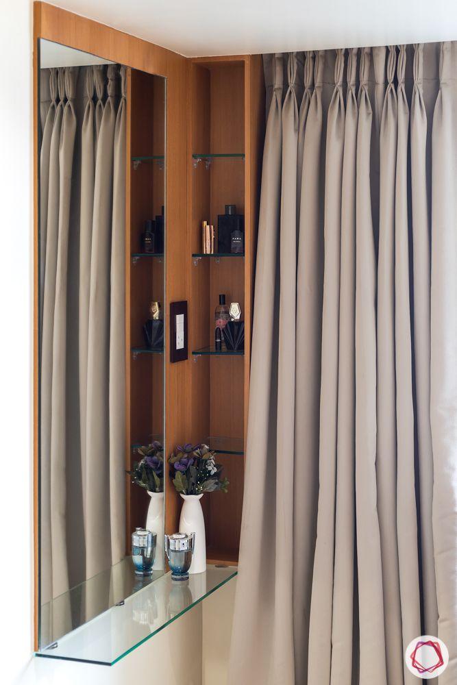 home renovation mumbai-vanity unit-wooden vanity unit-glass shelf