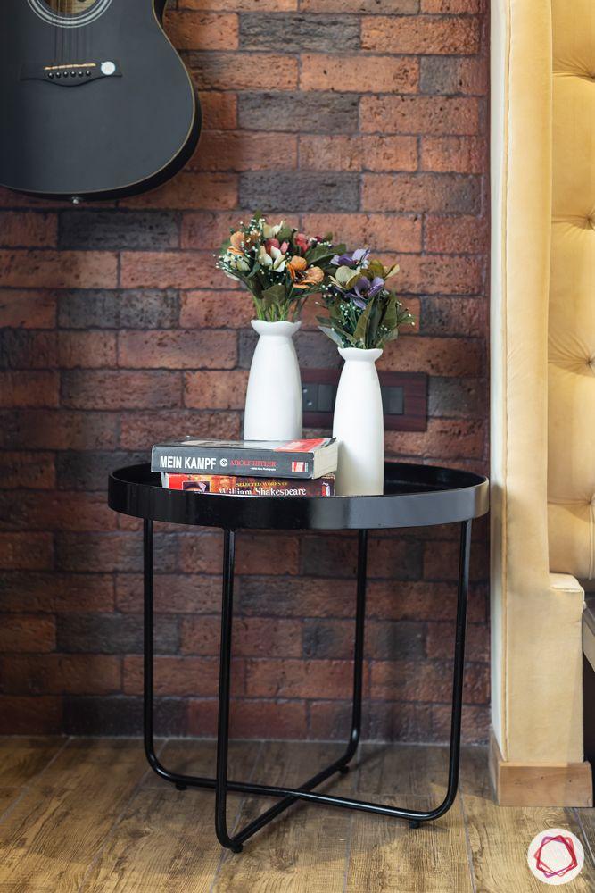 brick tiles-guitar-vase-bedside table designs