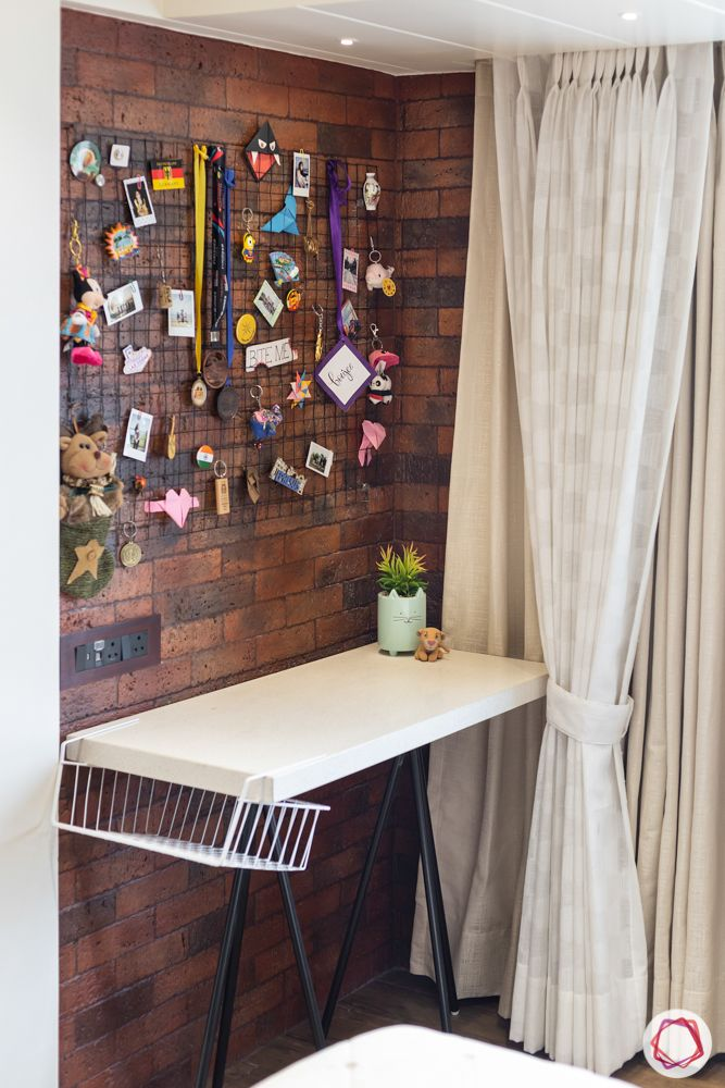 brown brick tiles-study table-wall mount stand