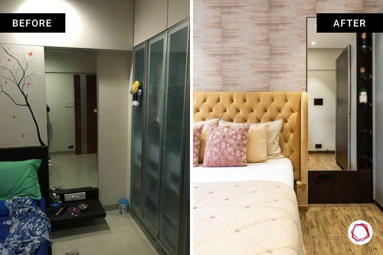 home renovation mumbai-vanity designs-textured wallpaper-mirror designs