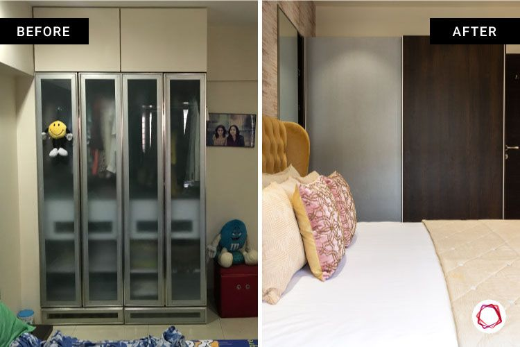 home renovation mumbai-frosted glass wardrobe-glass and wooden laminate wardrobe-textured wallpaper-beige headboard