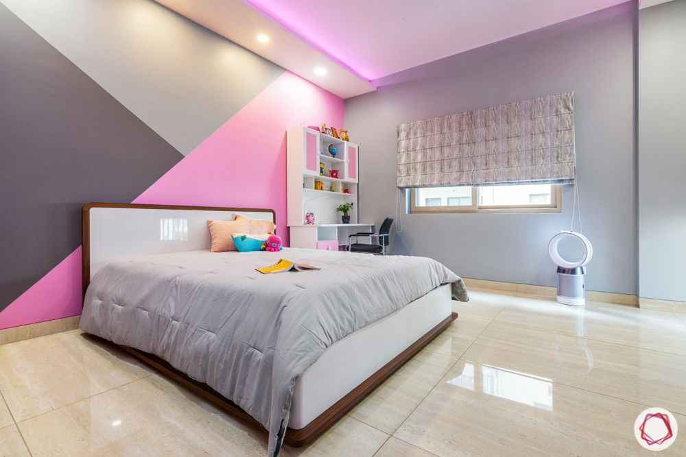 ardee city-daughter's room-white and pink study unit-grey bed-white headboard-window