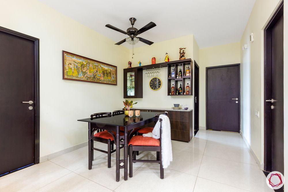 3-bhk-flat-interior-design-dining room-laminate crockery unit