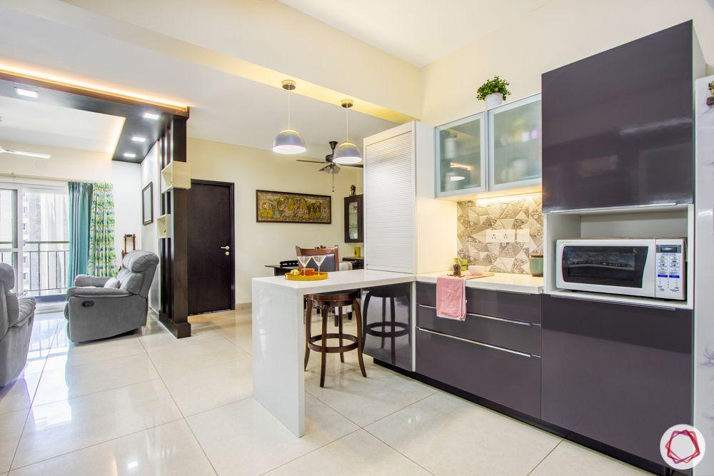 3-bhk-flat-interior-design-laminate kitchen-grey kitchen