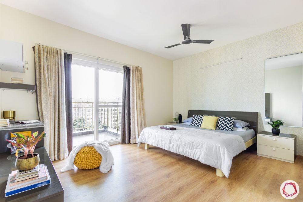 3-bhk-flat-interior-design-master bedroom-wooden flooring