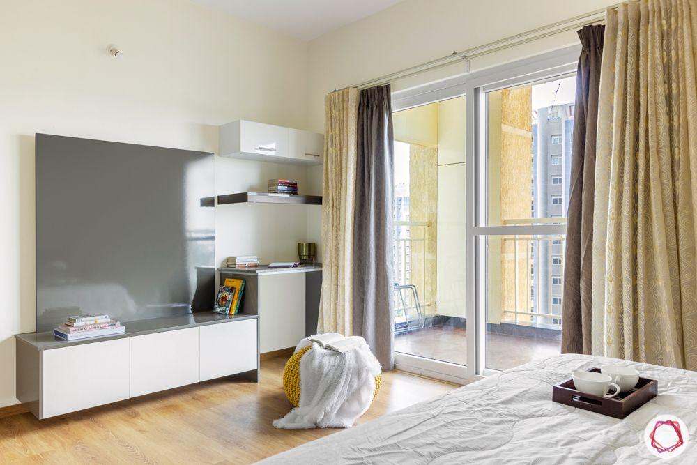 3-bhk-flat-interior-design-master bedroom-laminate tv unit-laminate study table