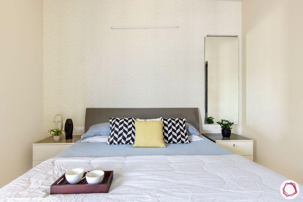 3-bhk-flat-interior-design-master bedroom-bed-side tables-dresser