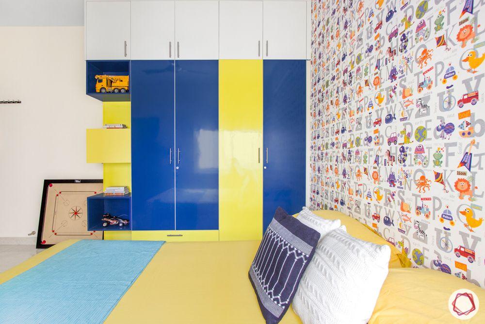 3-bhk-flat-interior-design-kids bedroom-wardrobes-swing door wardrobes