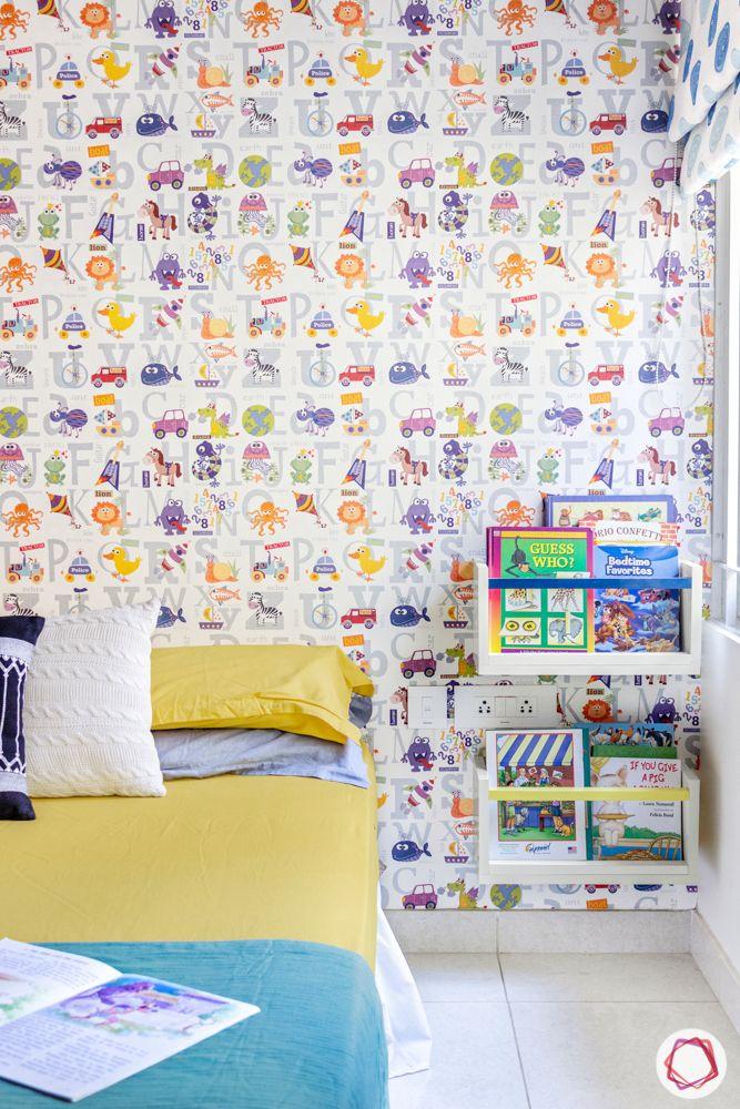 3-bhk-flat-interior-design-kids bedroom-bookshelf