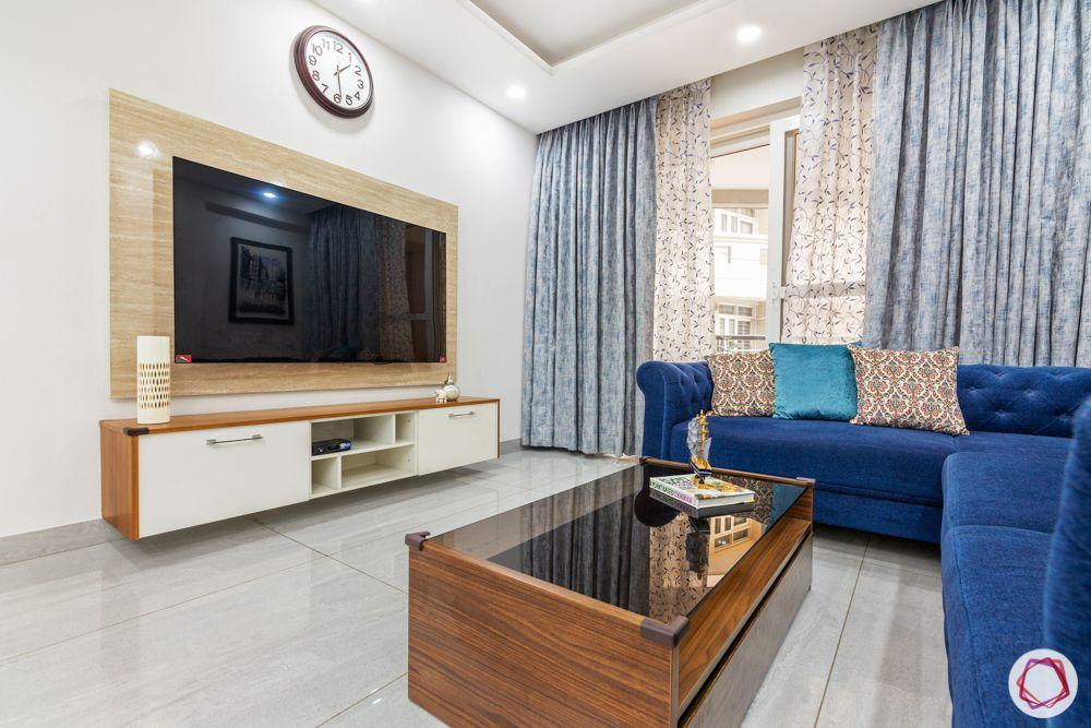 blue sofa design-l-shaped sofa design