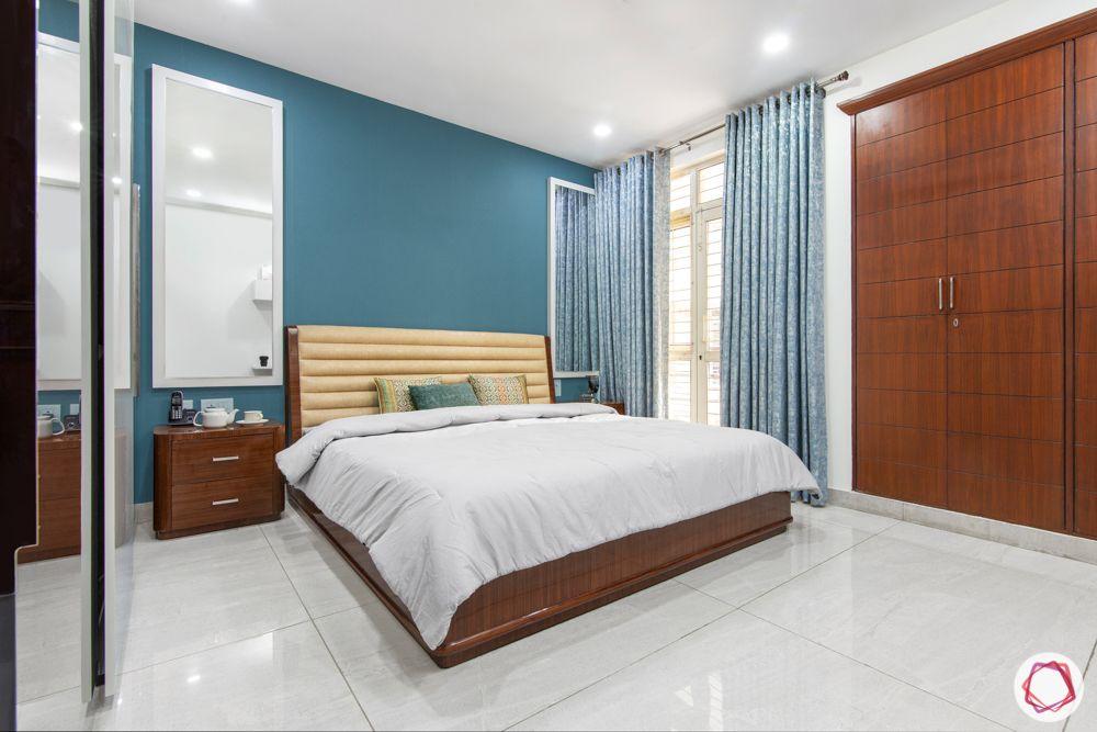 3bhk interior design-blue wallpaper design