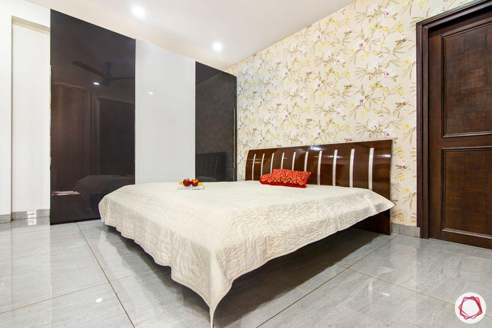3bhk interior design-floral wallpaper design