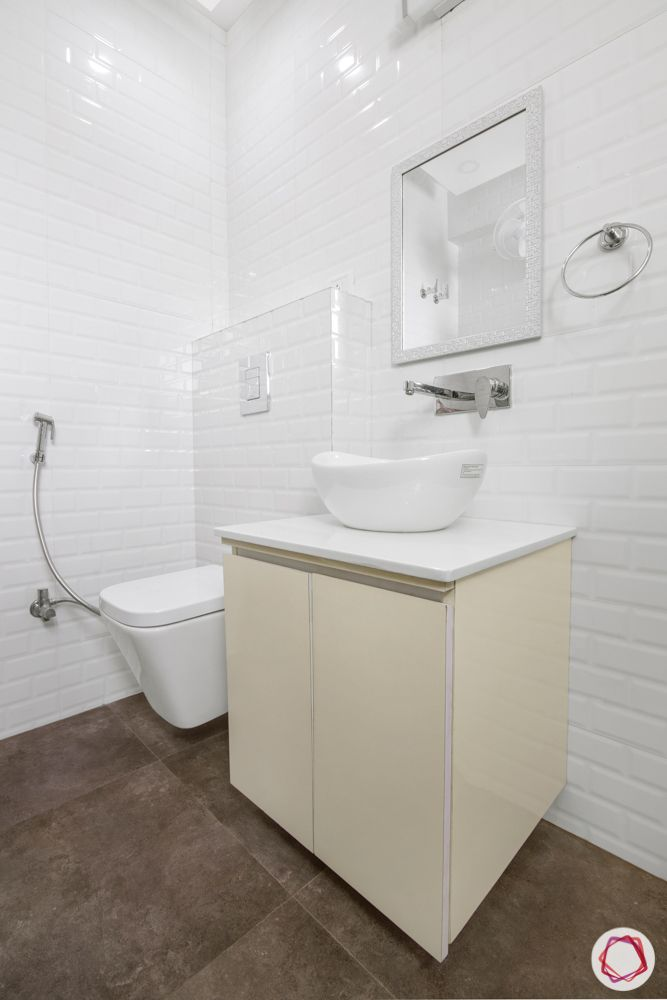 bathroom designs for small spaces-white walls-white tiles-beige colours