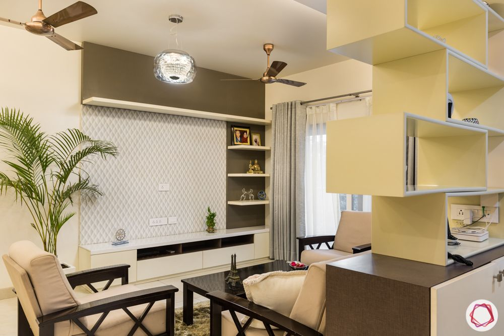 interior 3bhk for flat-window-grey curtain designs-wooden furniture-beige sofa set-centre table