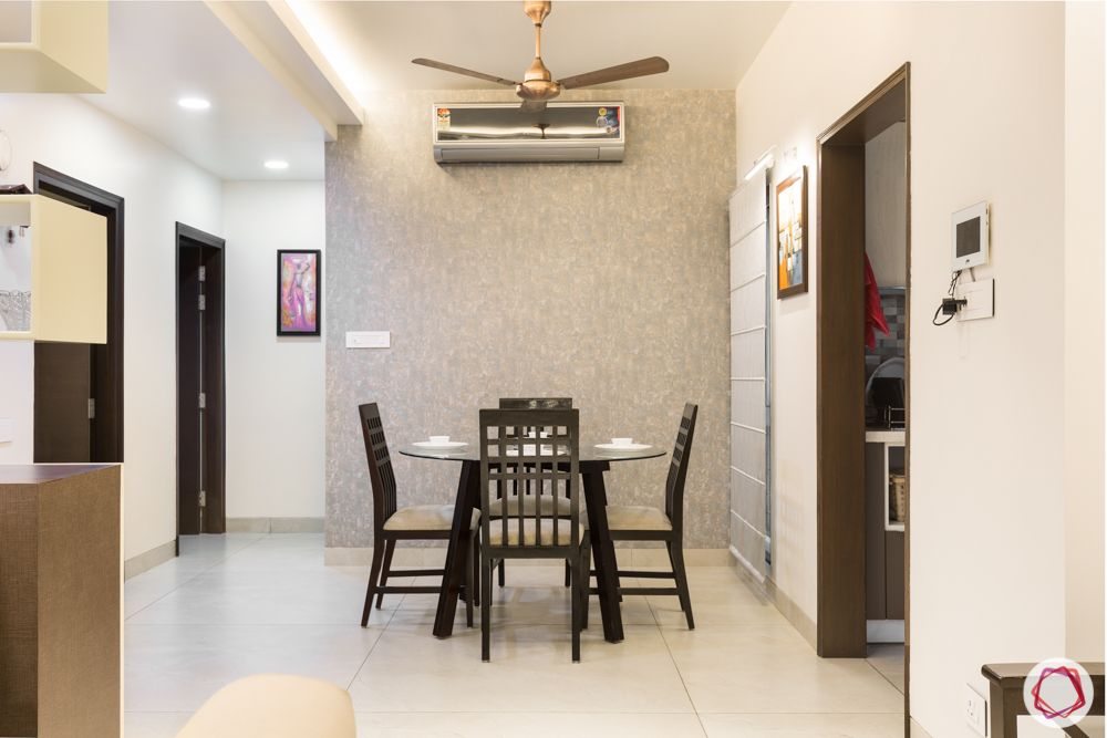 interior 3bhk for flat-dining table-blue wallpaper