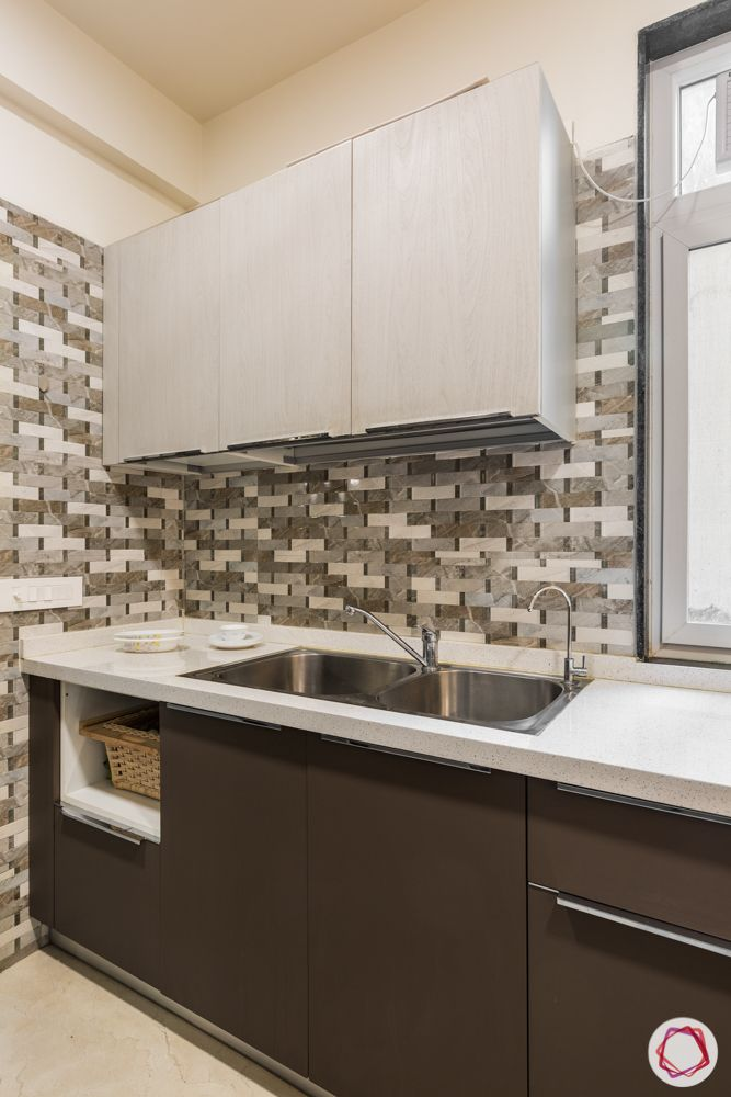 interior 3bhk for flat-kitchen layout-cabinet basket-brown and white cabinets-sink