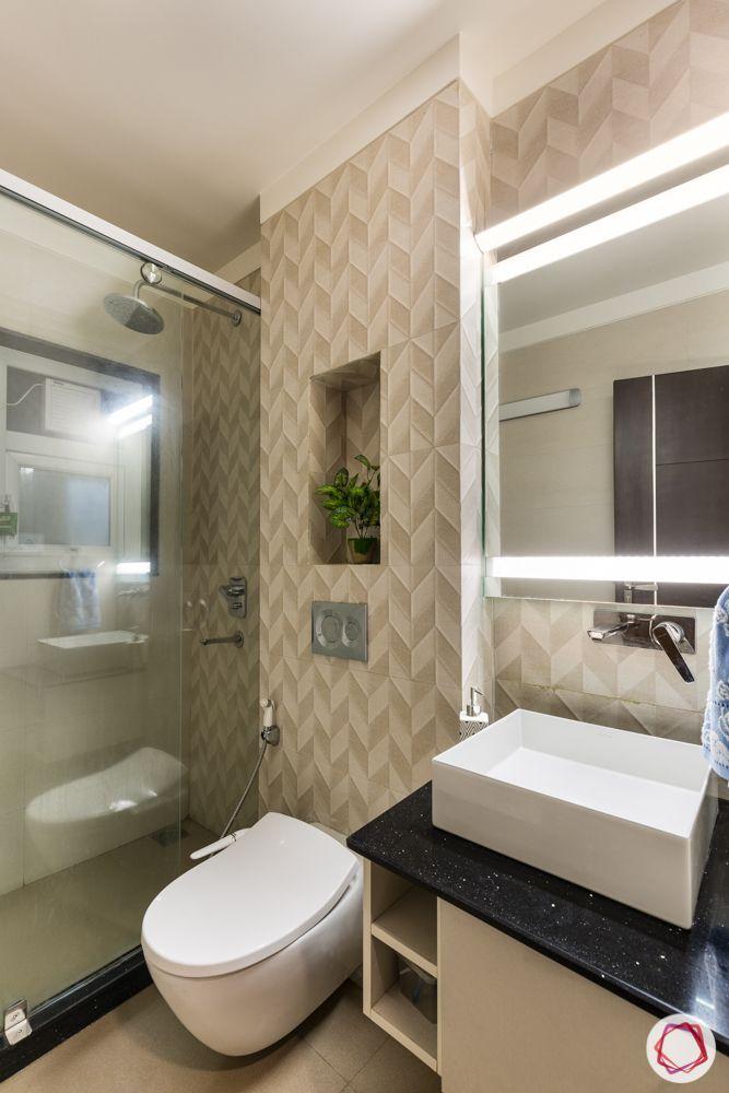 interior 3bhk for flat-bedroom designs-pattern tiles-backlit mirror-bathroom designs