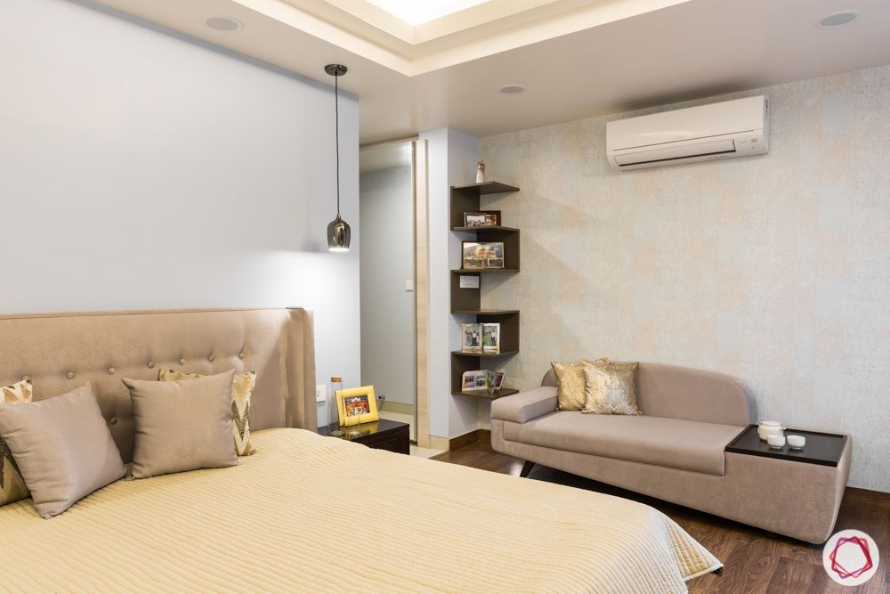interior 3bhk for flat-bedroom designs-bookshelf-beige sofa-display unit