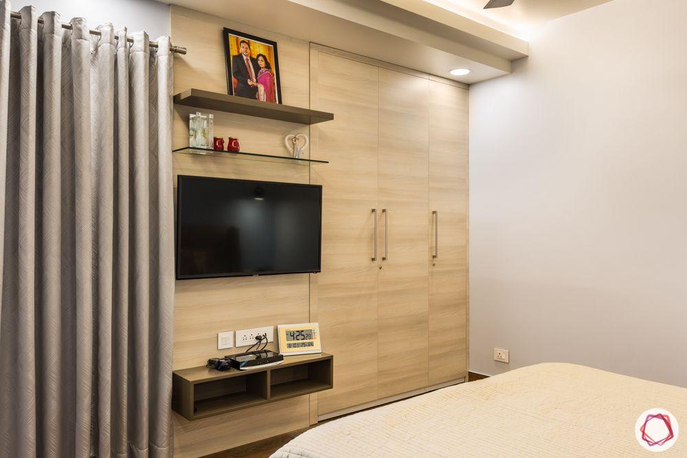 interior 3bhk for flat-bedroom designs-wardrobe wooden-tv unit-curtains