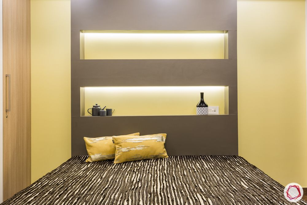 interior 3bhk for flat-bedroom designs-backlit panel-yellow cushions-grey laminate