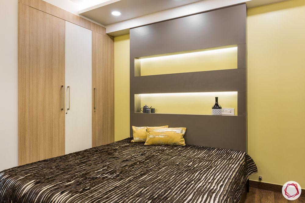 interior 3bhk for flat-bedroom designs-wooden wardrobe-backlit panel-laminate headboard