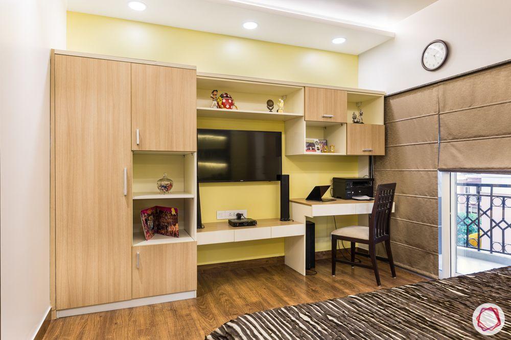 interior 3bhk for flat-bedroom designs-wooden wardrobe-tv unit-study unit
