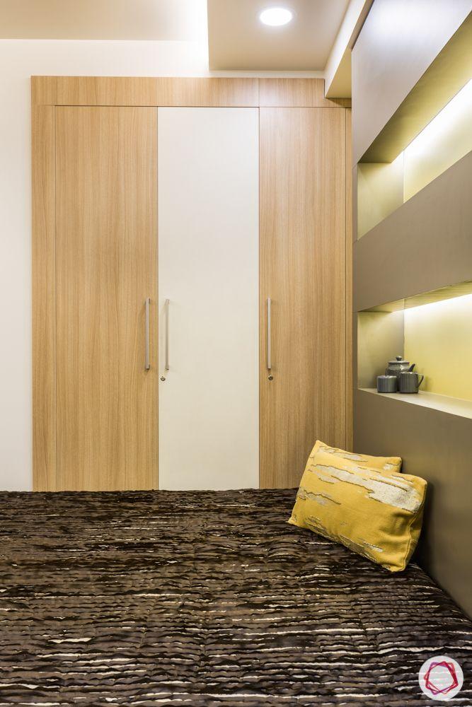 interior 3bhk for flat-bedroom designs-wooden wardrobe-backlit panels