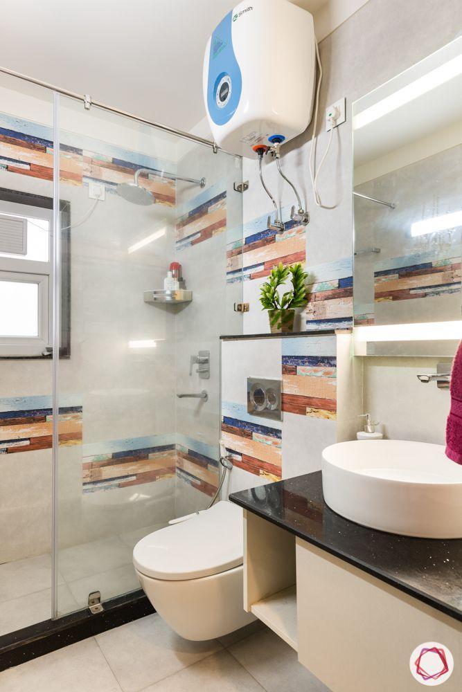 bathroom designs-colourful tiles-backlit mirror
