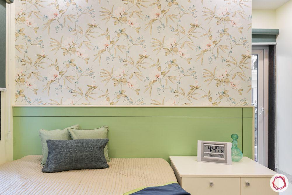 bedroom designs-bed designs-green headboard-floral wallpaper