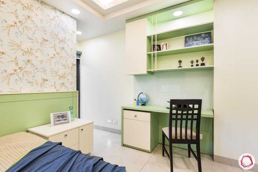 bedroom designs-pastel green-compact study unit