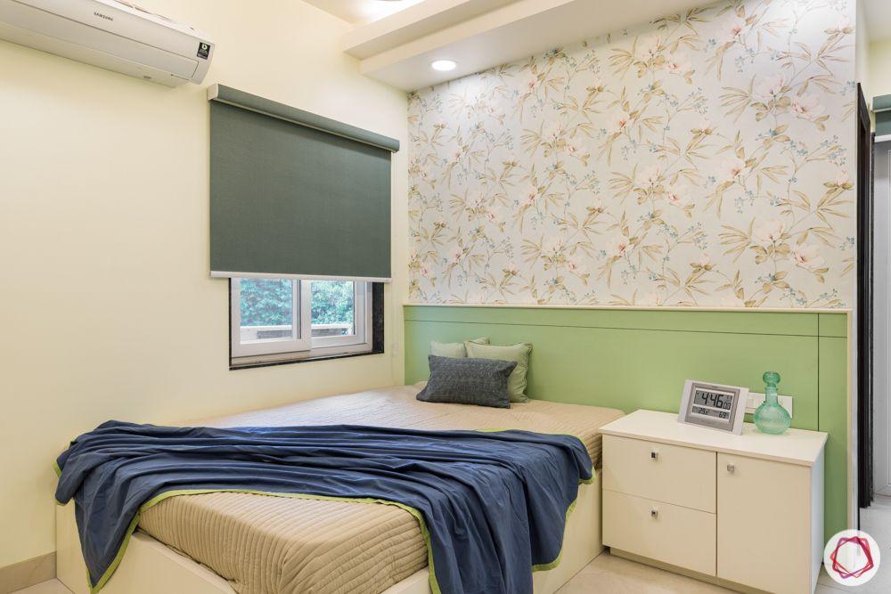bedroom designs-bed designs-pastels green-florals wallpaper